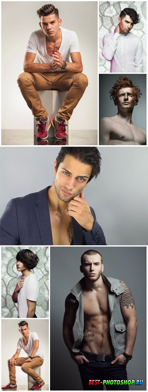 Handsome and stylish men stock photo