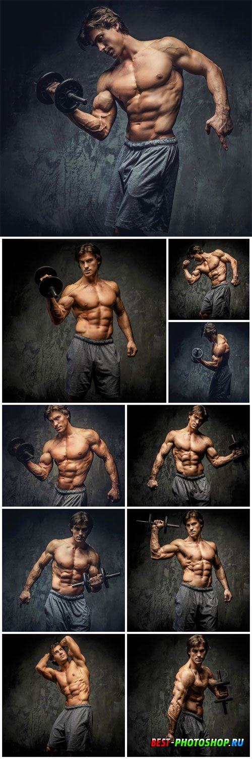 Man with a pumped up beautiful body stock photo