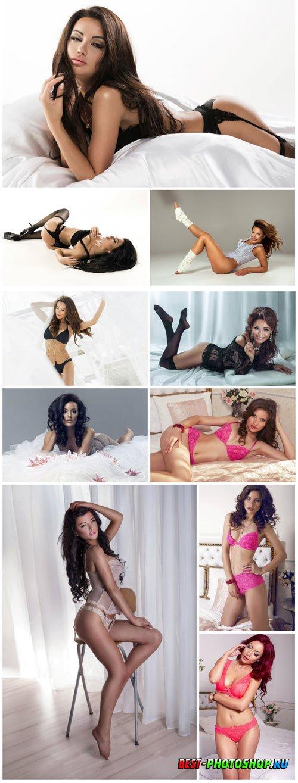 Girls posing in studio stock photo