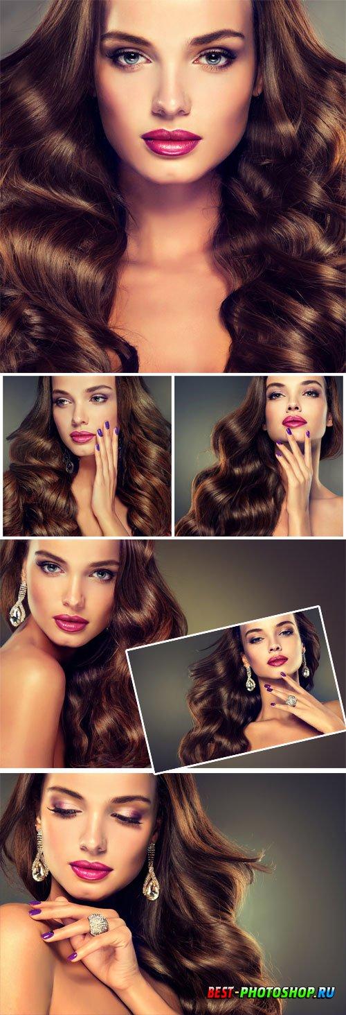 Girl with beautiful earrings stock photo