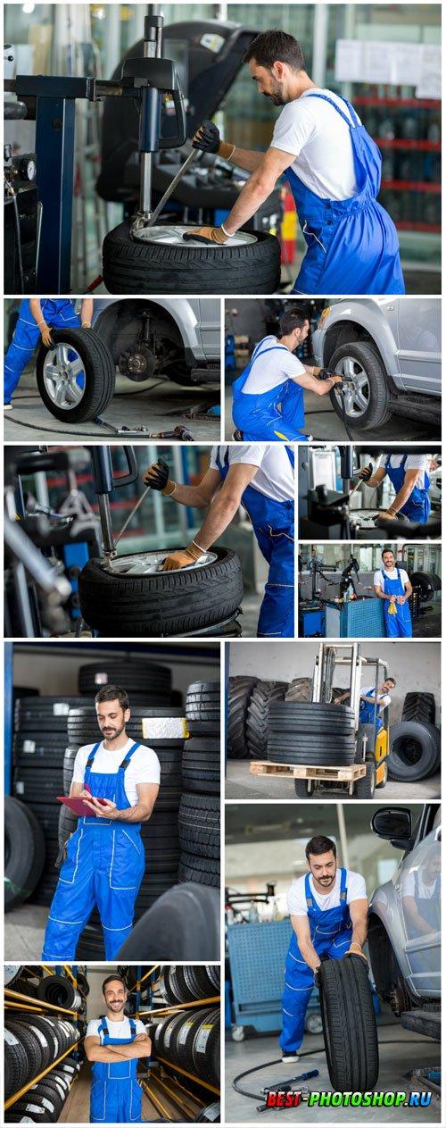 Car repair shop, tire fitting stock photo