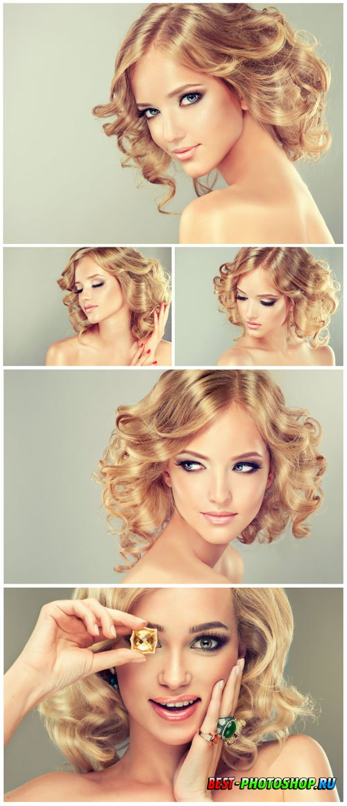 Blonde with short hair stock photo
