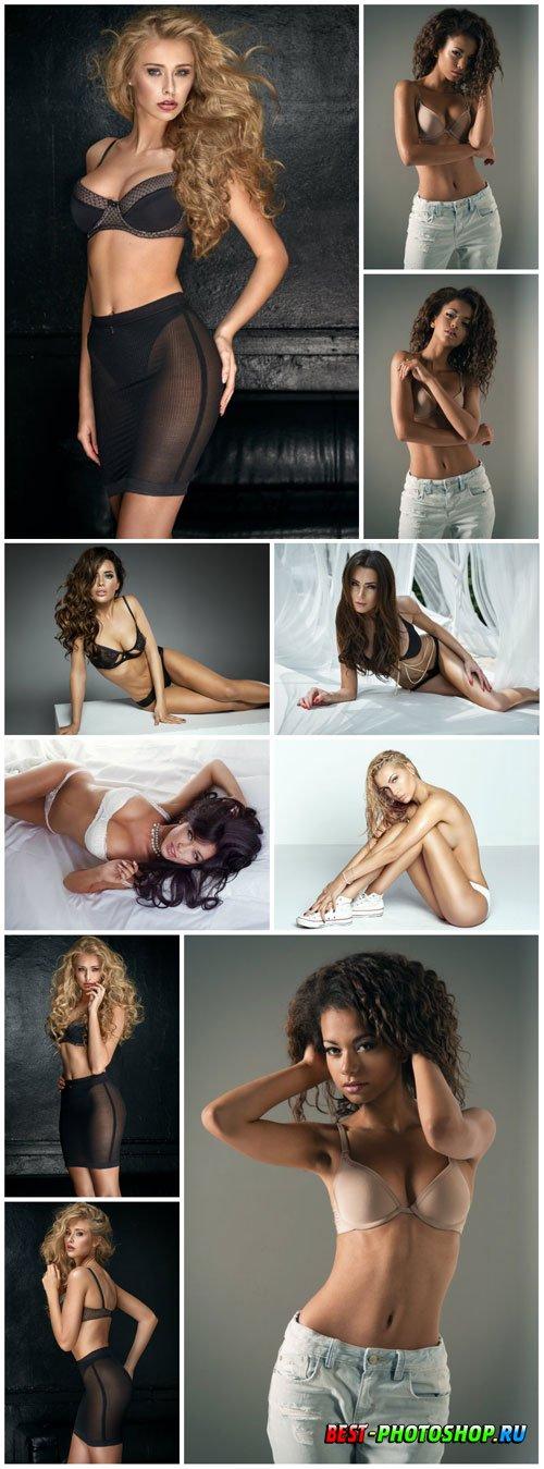 Women in different underwear stock photo