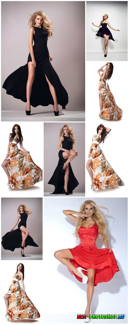 Women in colorful long dresses stock photo