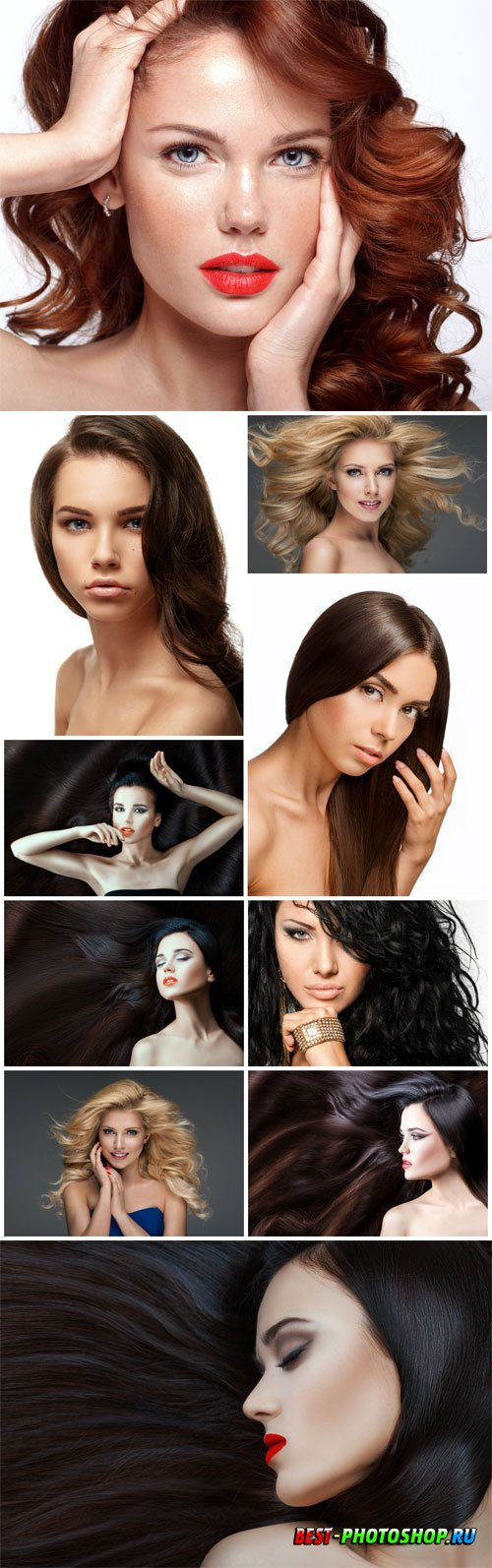 Stylish young girls with different hairstyles stock photo