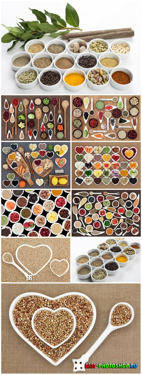 Spices in various dishes stock photo