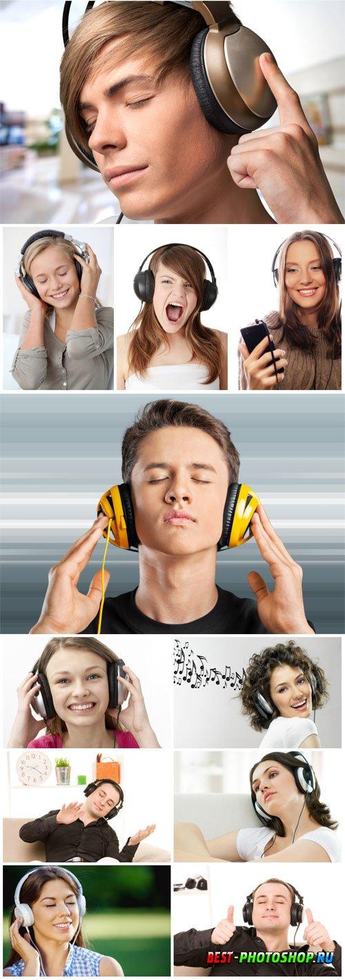 People with headphones stock photo