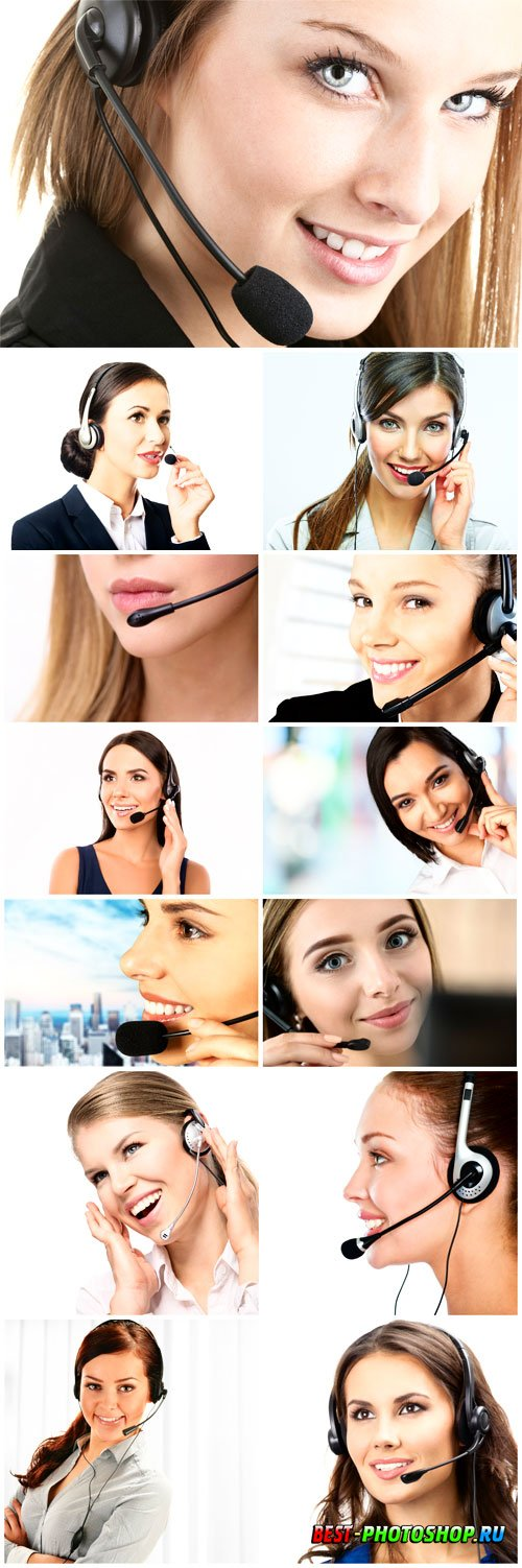 Operator woman with a sweet smile stock photos