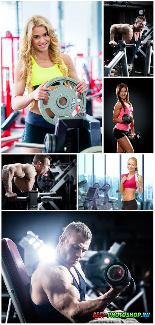 Men and women in gym stock photo