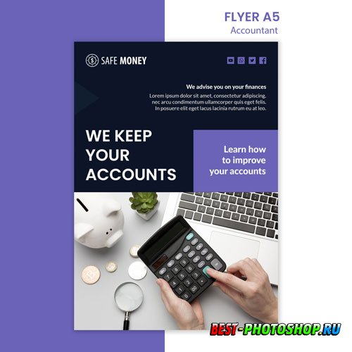 Accountant concept flyer psd template
