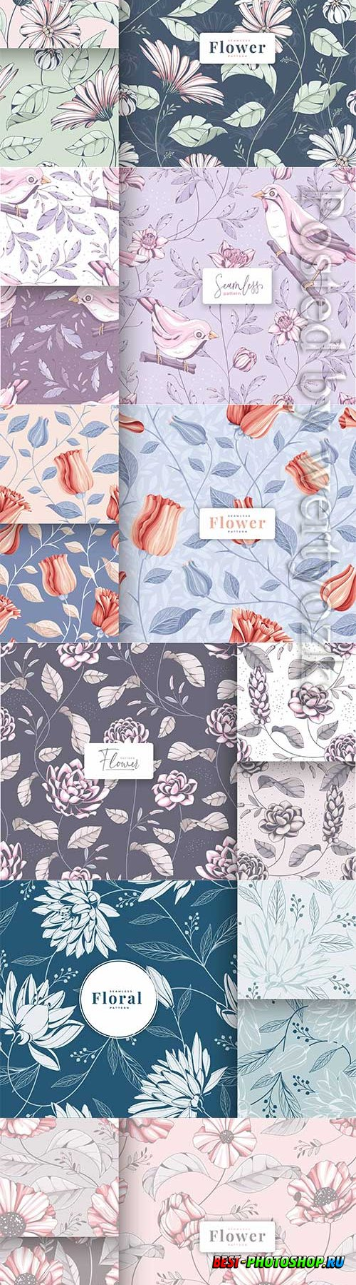 Vector hand drawn vintage floral seamless pattern