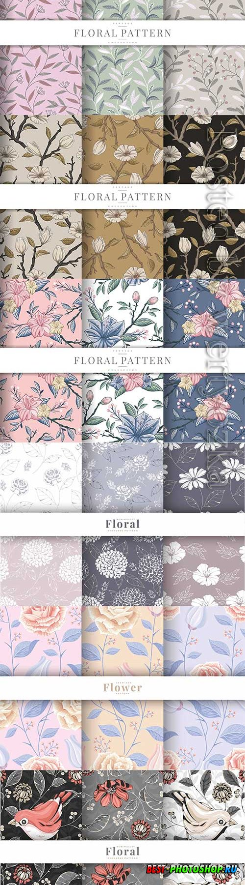 Hand drawn vintage floral seamless pattern