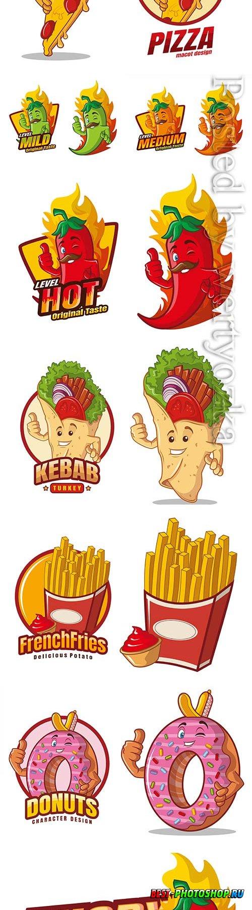 Food cartoon character mascot vector design