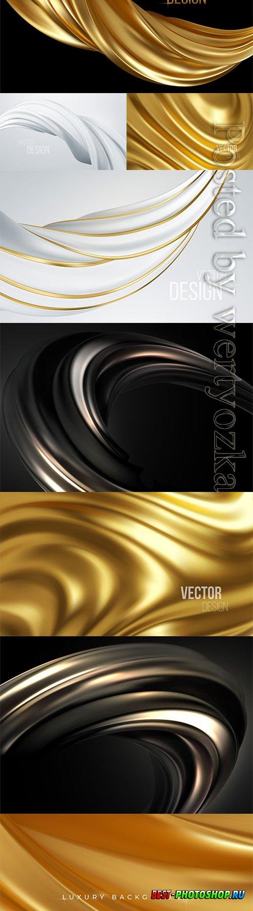 Gold metallic silk flowing wave luxury vector background
