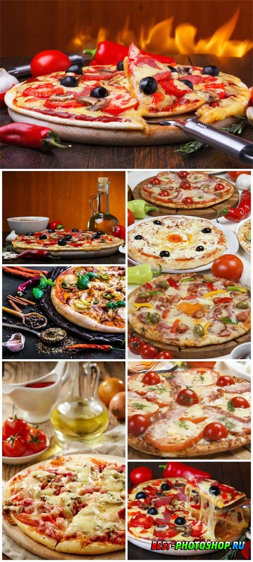 Pizza with tomatoes and olives stock photo