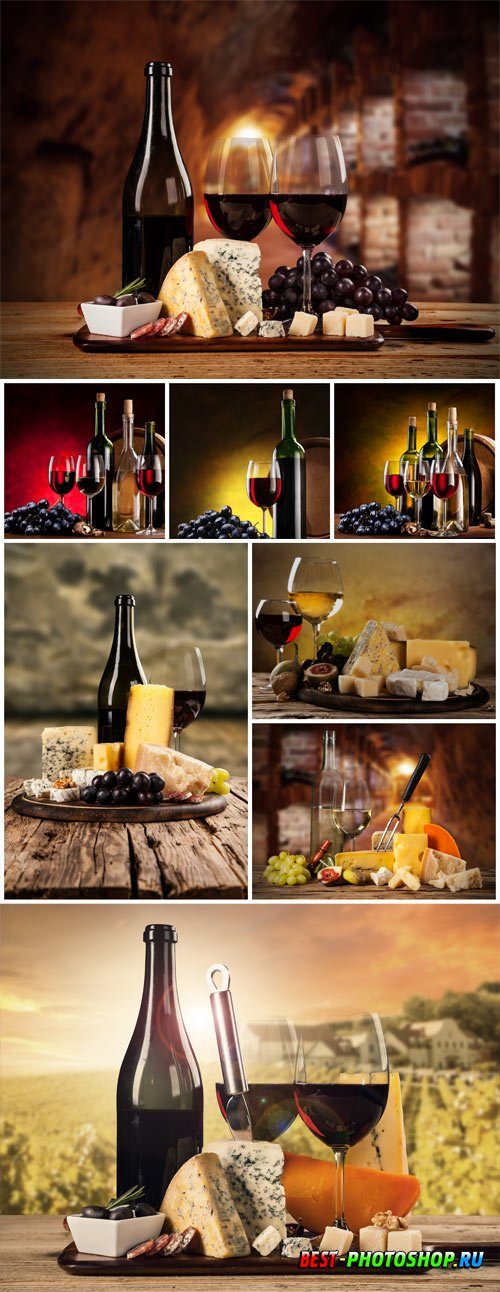 Glasses with wine, cheese and grapes on a tray stock photo