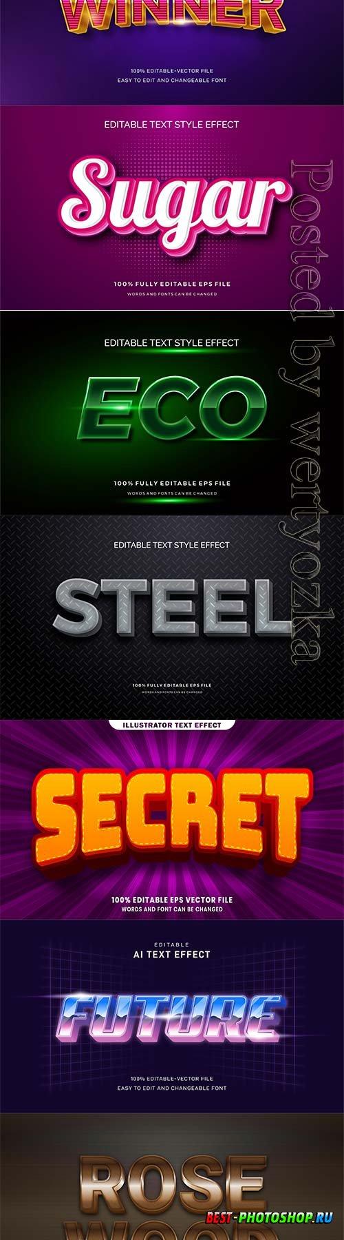 3d editable text style effect vector vol 306