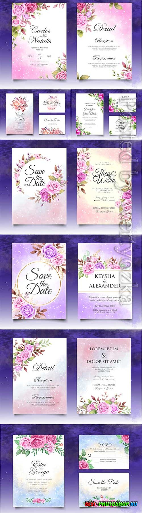 Wedding invitation with red and purple roses