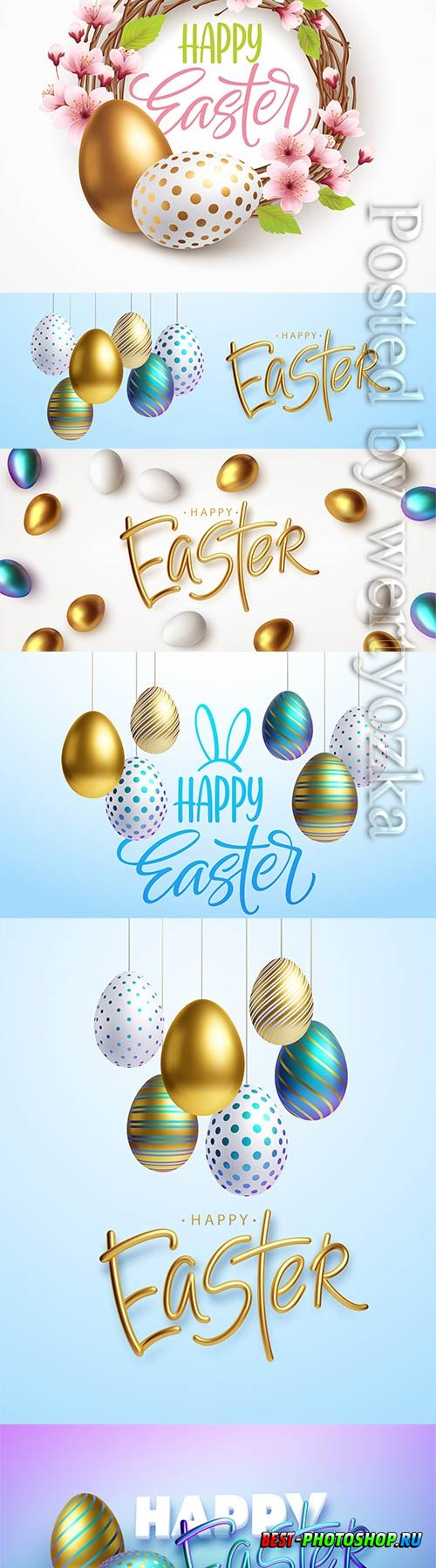 Happy easter on a background of easter eggs
