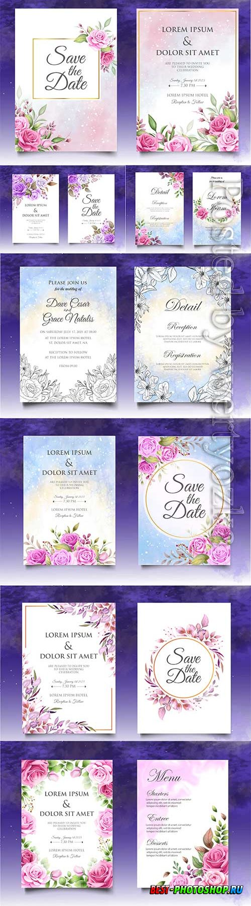 Floral  invitation template wedding