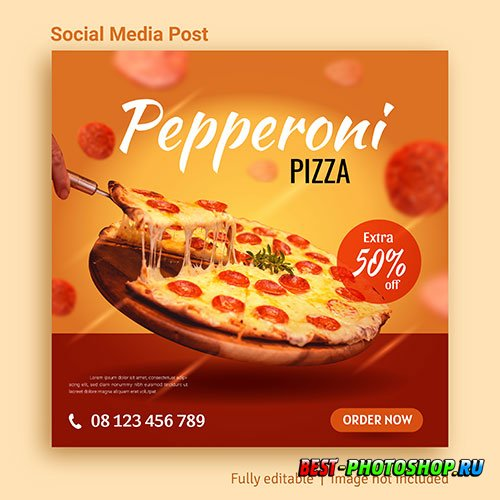 Pizza food sale social media post advertising template