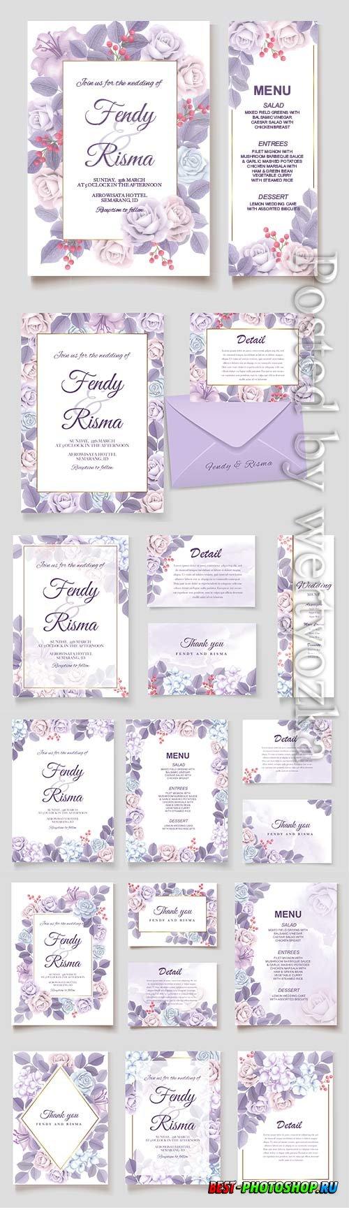 Elegant vector wedding invitation floral design