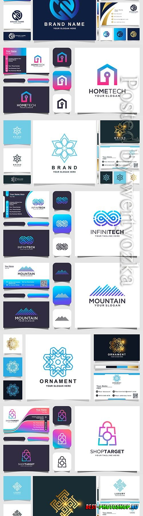 Logo design and business card vector template
