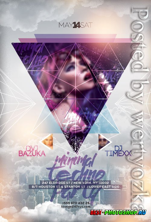 Minimal Techno Party - Premium flyer psd template