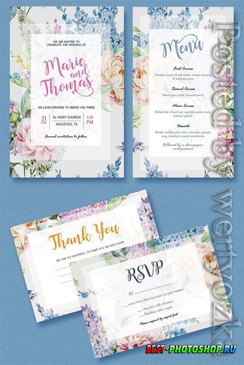 Floral Wedding Invitation - Premium flyer psd template