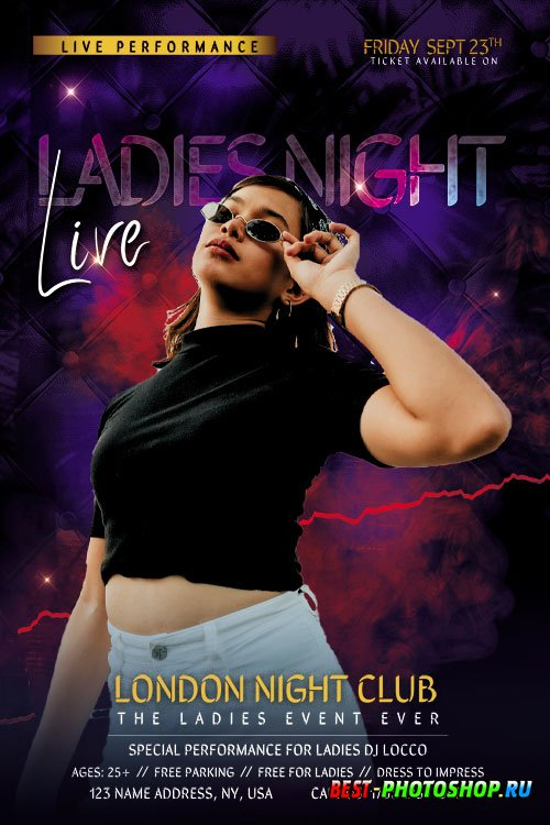 Ladies Event Night Party Flyer PSD Template