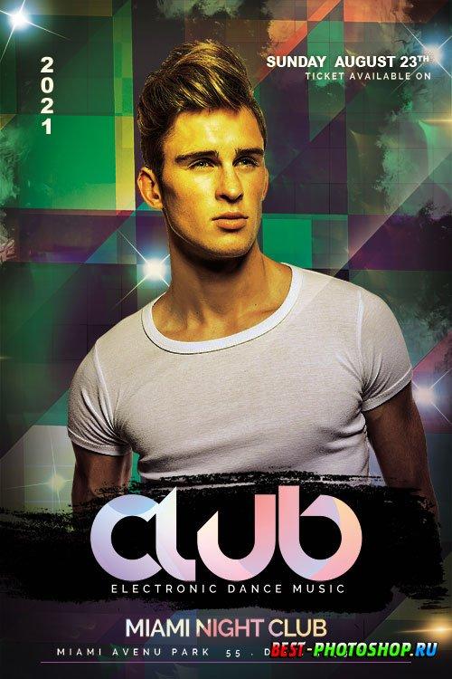 Club Dance Music Night Flyer PSD Template