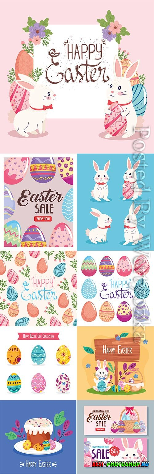 Happy easter lettering vector card with illustration