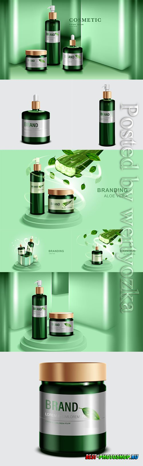 Cosmetics or skincare product, green bottle and green wall background