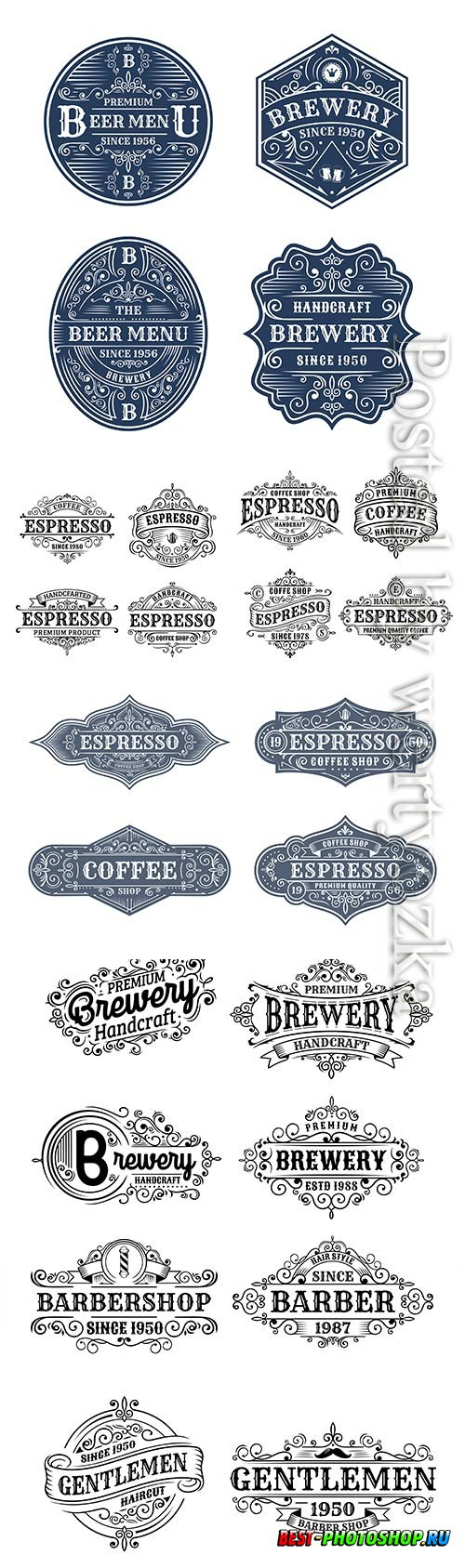 Set of vintage vector label design