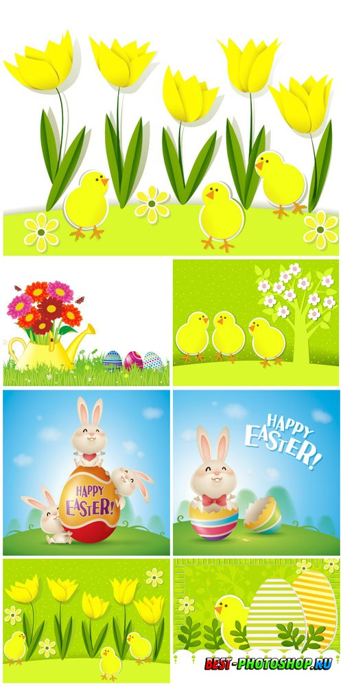 Yellow tulips and chickens, Easter illustrations in vector