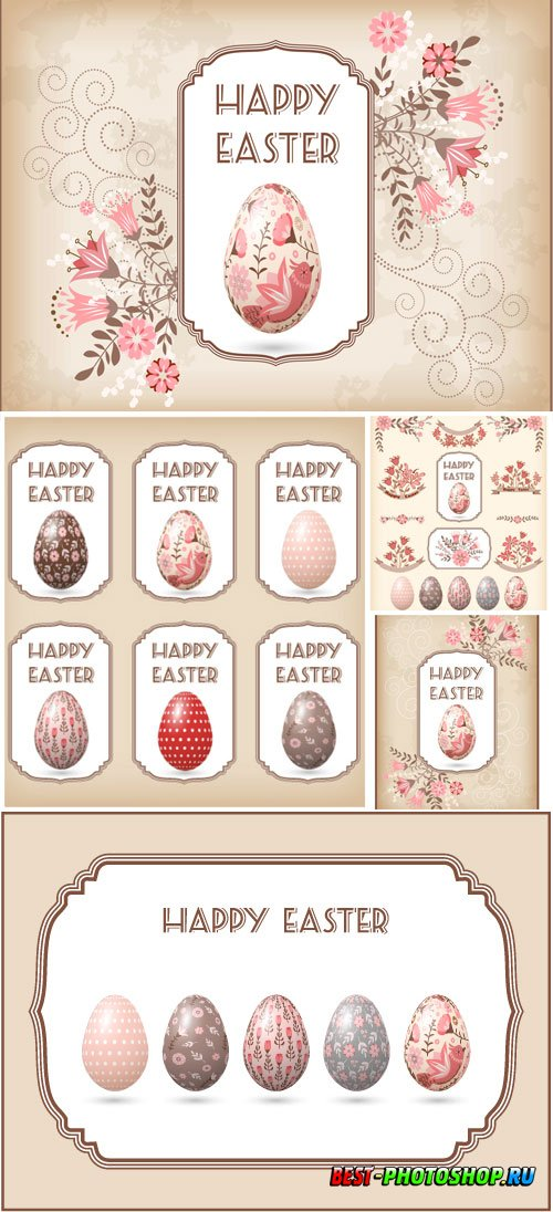 Painted Easter eggs in vector