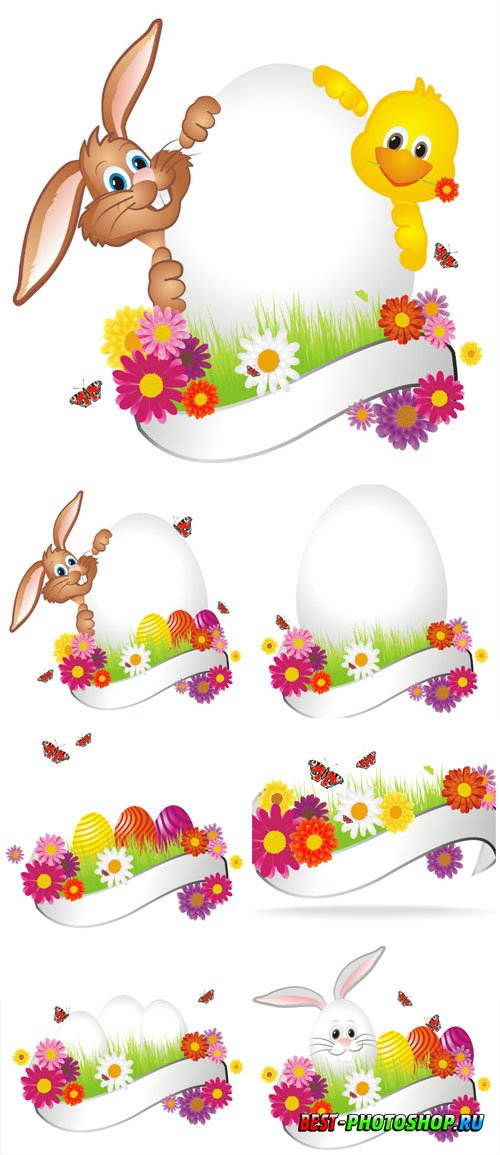 Easter bunny with banner for text in vector