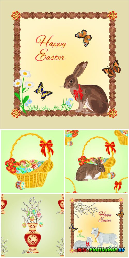 Easter bunny and basket with Easter eggs in vector