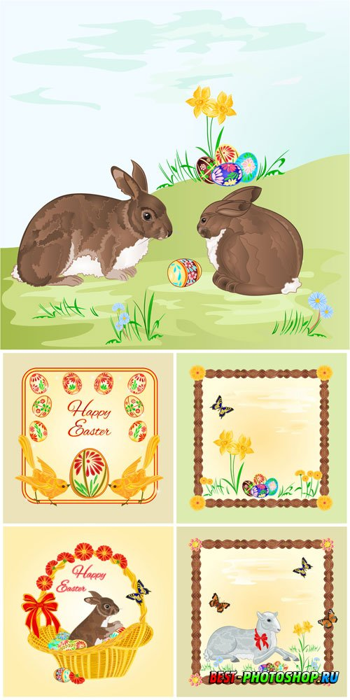 Easter bunnies, vector frames with butterflies