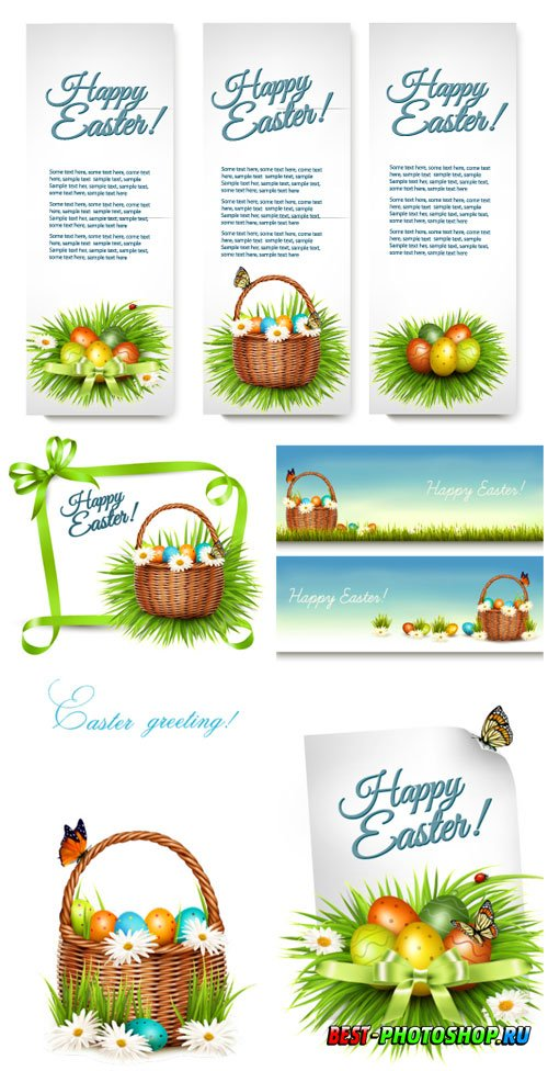 Banners with Easter elements in vector