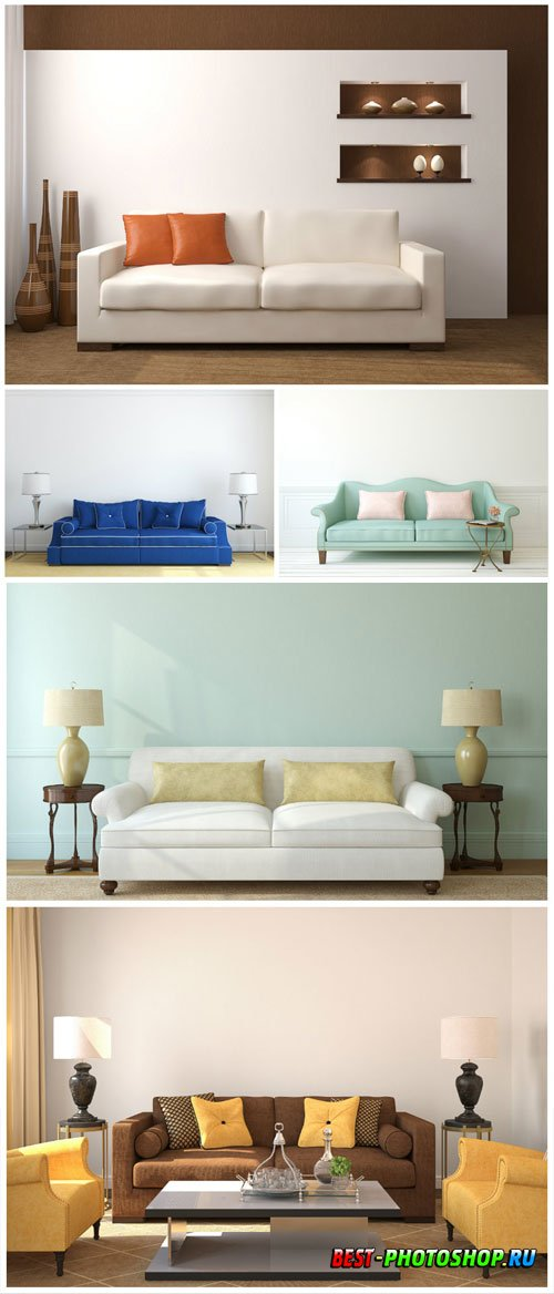 Sofas, modern interior stock photo