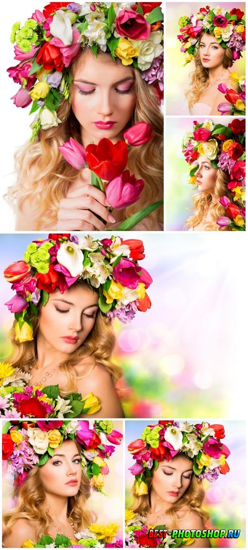 A wreath of flowers on a girl's head stock photo