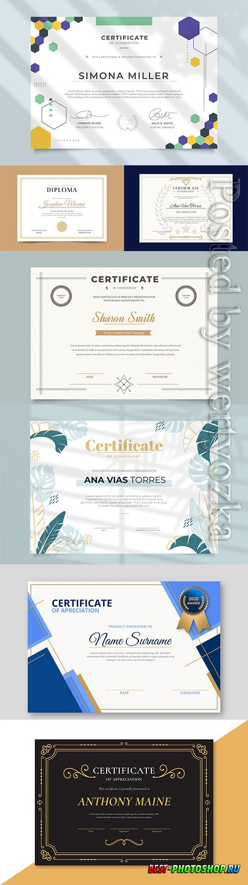 Diplomas and certificates in vector