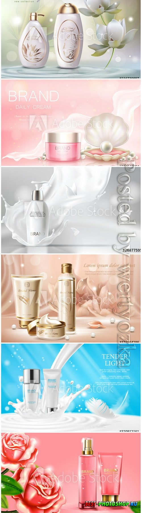 Cosmetics advertising banner vector template