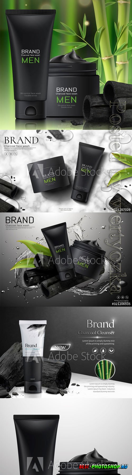 Charcoal men face wash ads
