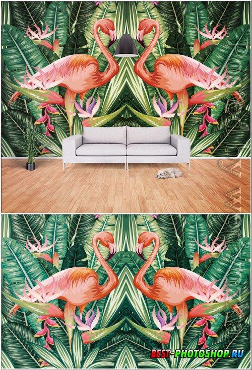 Modern hand drawn abstract tropical rainforest banana leaf flame bird tv background