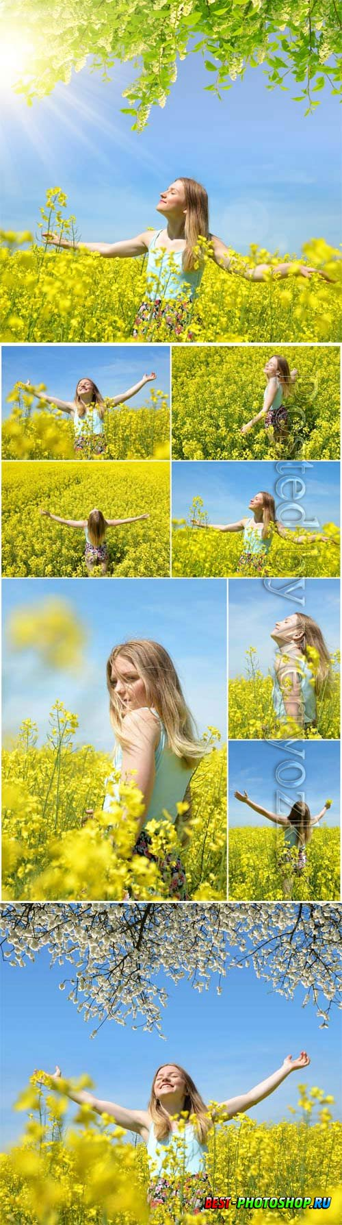 Girl in a field with yellow flowers stock photo