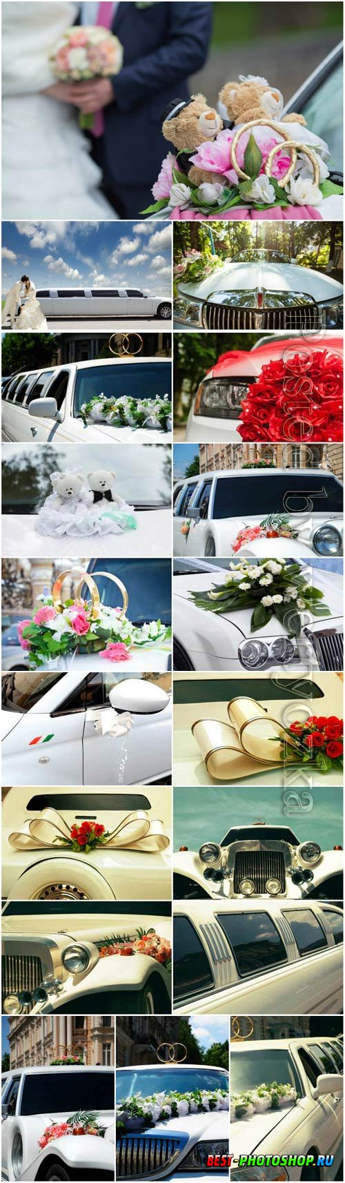 Decorated wedding cars, bride and groom stock photo