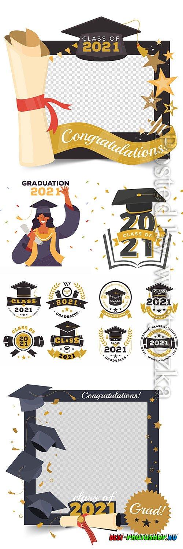 Flat class of 2021 vector illustration