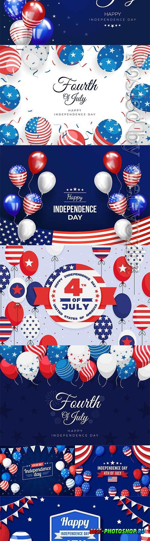 4th july independence day balloons vector background